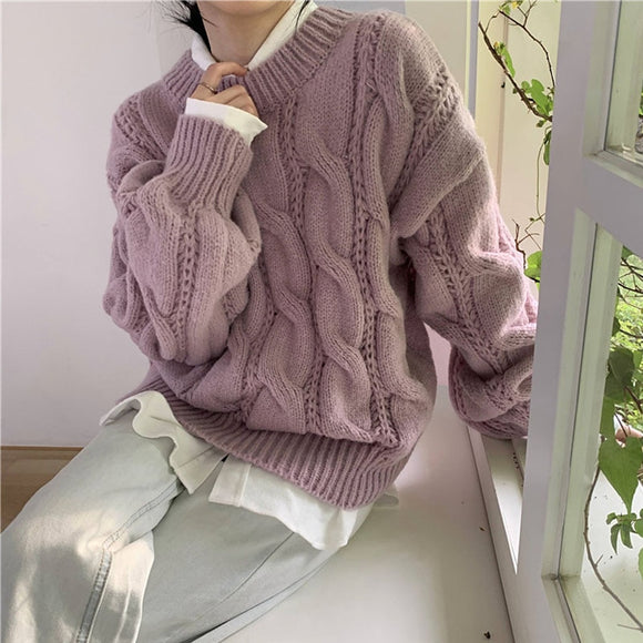 New 2020 Autumn Winter Women's Sweaters Minimalist Elegant Korean Oversize Vintage Short Knitted Lady Jumpers