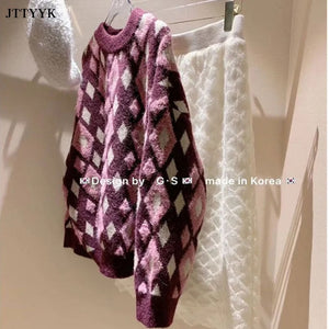Long sleeve Lingge Pullover Sweater Women Loose O Neck Knitted Sweater Women Top Winter Short Plush Bottoming Shirt