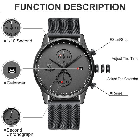 Chronograph Quartz Watch Men Stainless Steel Waterproof Sports Clock Watches Business