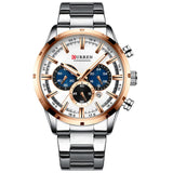 Top Brand Luxury Fashion Mens Watches Stainless Steel Chronograph Quartz Watch Men Sport Male Clock