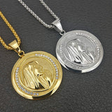 New Catholic Religious Jewelry Virgin Mary Pendants Gold Color Stainless Steel Madonna Collier For Women 2020 Necklace