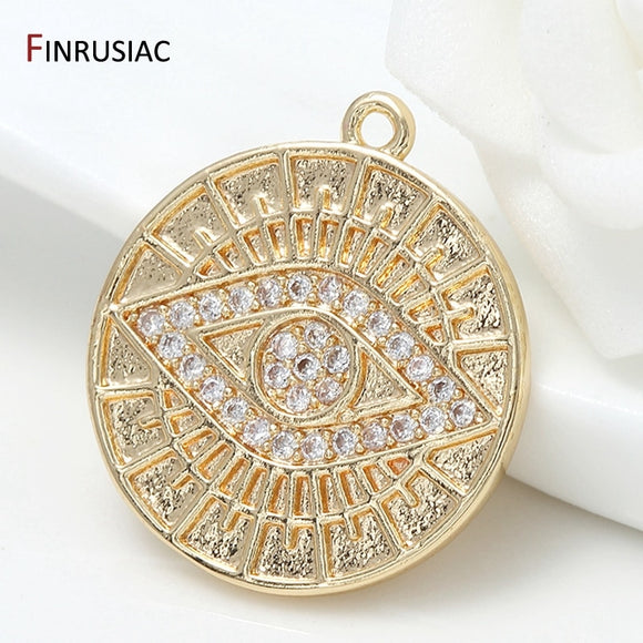 Designer Charms Pendants For Jewelry Making 5 Types Pattern Gold Plated Brass Zircon Round Commemorative Coin Pendant Charm