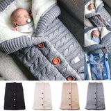 Newborn Baby Winter Warm Sleeping Bags Infant Button Knit Swaddle Wrap