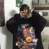 Sweatshirts High Street Harajuku Cute Hoodies  Punk Gothic Devil Horn Chic Hooded Pullover Loose Sweat
