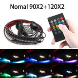 Music Remote Control RGB LED Strip Under Car Tube Underglow Underbody System Neon Light DC12V IP65 5050 SMD