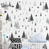Nordic Forest Geometric Deer Triangle Wall Stickers for Kids Room Kindergarten Classroom Wall Decoration Posters Art Home Decals
