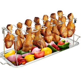 Non-Stick Rib Shelf Stand Barbecue Rib and Roast Rack Stainless Steel Grilling BBQ Chicken Beef Ribs Rack Grilling basket