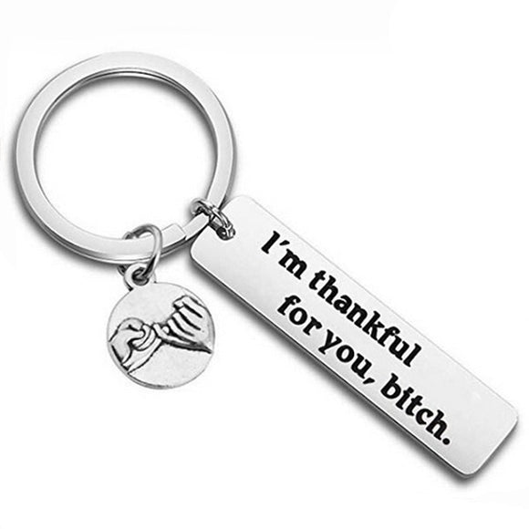 Creative Keychain Man I'm Thankful for You Key Chain Bags European Silver Color Key Ring