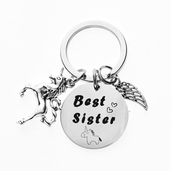 Simple Keychain Man Best Sister Key Holder Bags Horse Unisex Silver Color Alloy Key Chain
