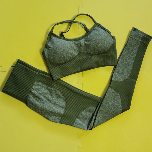 Olive Green New Color Impact Seamless Yoga Sets