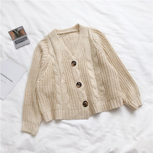 Korean Style Knitted Sweater Cardigans Women Long Sleeve Single Breaster Female Cardigan Solid Sweaters Sueter Mujer