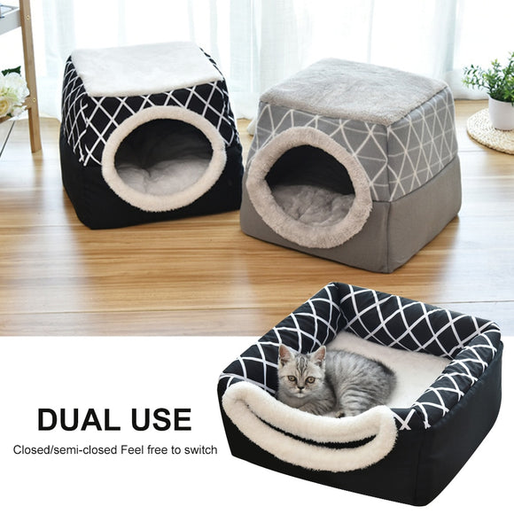 Pet Cat Dog Nest Dual Use Warm Soft Sleeping Bed Pad For Pet Non-slip Breathable Cat House Dog Sleeping Mat Blanket L/XL