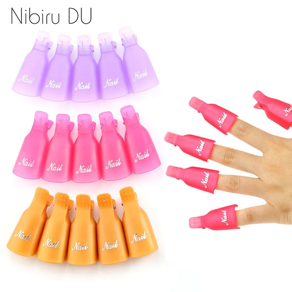 Plastic Nail Art Soak Off Cap Clips UV Gel Polish Remover Wrap Tool Fluid