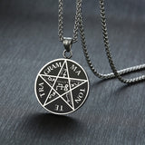 Punk Mens Tetragrammaton Necklaces Stainless Steel Pentagram of Solomon Pendant Name of God Collar Gifts for Him