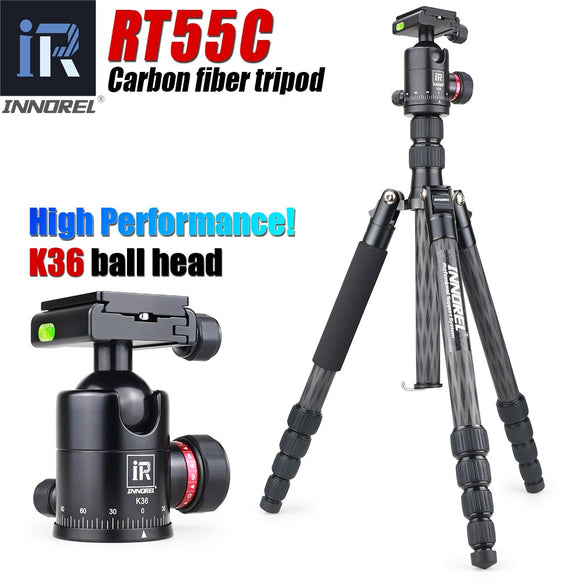 RT55C Professional carbon fiber tripod for digital camera tripode Suitable for travel