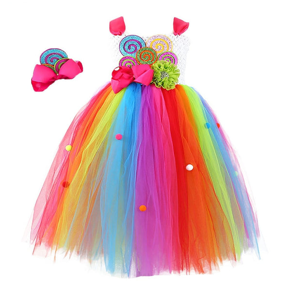 Rainbow Lollipop Flower Bow Tutu Dress and Headband For Mardi Gras Carnival