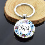 Religious Jewelry Bible Verse Double Side Glass Cabochon Keychain Jesus God Pendant Keyring Women Men Christian Gifts