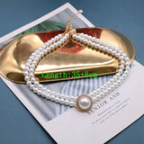 Retro Elegant Necklace Glass Pearls Double Choker Rhinestone Glitter Wedding Party Decoration