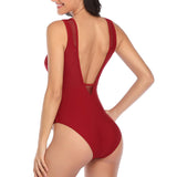 High Neck One Piece Swimsuit 2020 Swimwear Women Sexy Mesh Swim Wear Solid Ruched Bathing Suits
