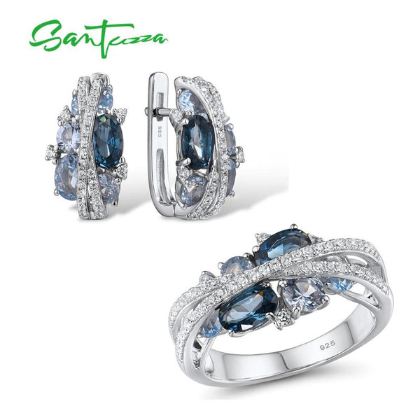 Sparkling Blue Spinel Earrings Ring Set Delicate Luxury Party Fine Jewelry