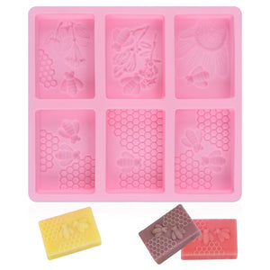 SJ Honeycomb Bee Soap Mold Silicone Soap Making Molds Rectangular Resin Mould for DIY Home Handmade Craft