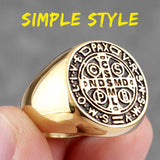 Saint Benedict Cspb Gold Black Cross Men Rings Punk Hip Hop for Boyfriend Male Stainless Steel Jewelry Creativity Gift Wholesale