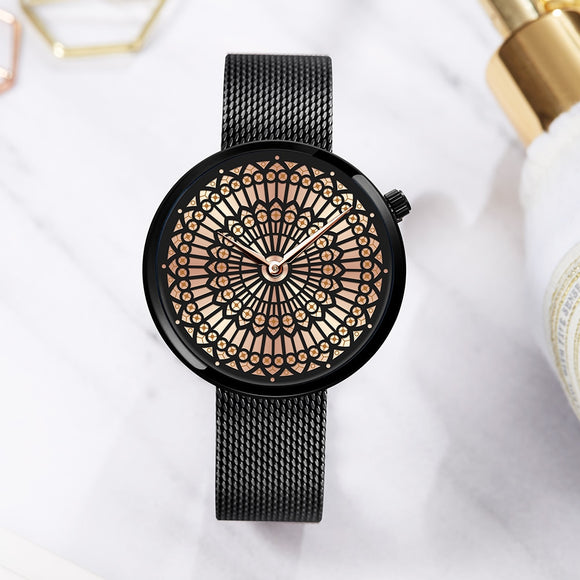 Luxury Brand Watch Women Fashion Dress Quartz Watch Ladies Full Steel Mesh Strap Waterproof
