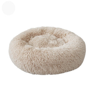 Soft Long Plush Cat Bed Round Plush Cat Bed House Round Pet Dog Bed