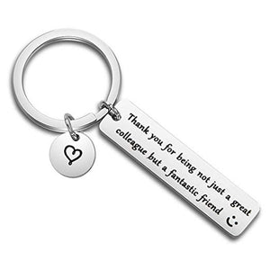 Stainless Steel Charm Keychain Engraved Thank You Colleague Fantastic Friend Key Ring Women Men Company Colleague Keyring Gifts