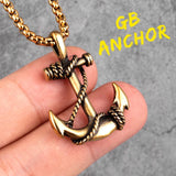 Stainless Steel Sea Anchor Sailor Man Men Necklaces Chain Pendants Punk Rock Hip Hop Unique for Male Boy Fashion Jewelry Gift