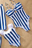 Striped Mother Daughter Swimwear One-Piece Mommy and Me Swimsuit Family