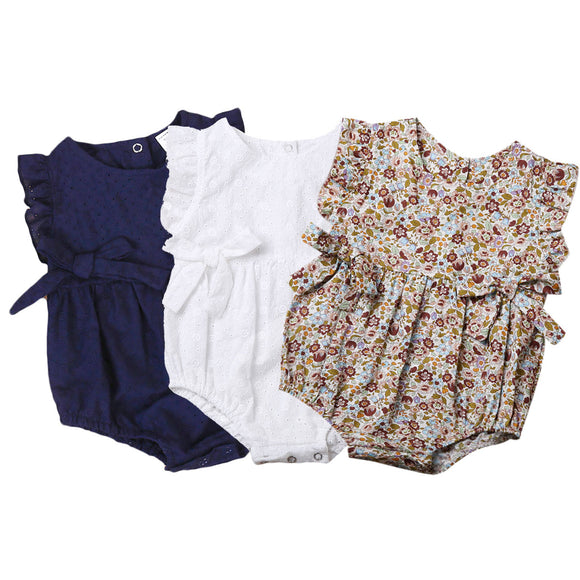 Summer Flower Baby Girls Ruffles Romper Infant Newborn Baby Jumpsuit Playsuit Bow Baby Clothes