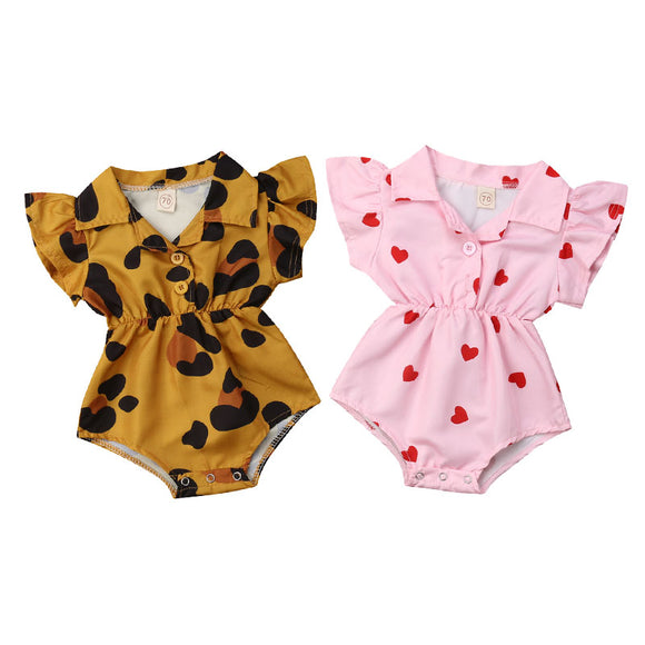 Summer Infant Newborn Baby Girl Clothing Leopard Heart Ruffles Baby Girls Rompers