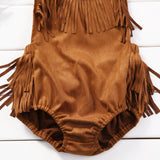 Summer New Cute Babies Halter Backless Bodysuits Casual Infant Baby Girl Sleeveless Tassel Jumpsuit