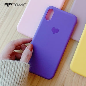 Love Heart Phone Case for iPhone 11 Promax XR XS MAX Luxury Matte Pink Yellow Case for iPhone 6S 7 8 Plus Silicone Cover
