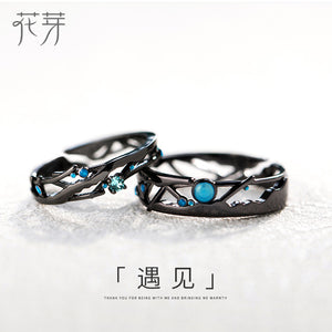 Milky Way Black Rings Blue Bright Cubic Zirconia Rings 925 Silver Jewelry for Women Lover