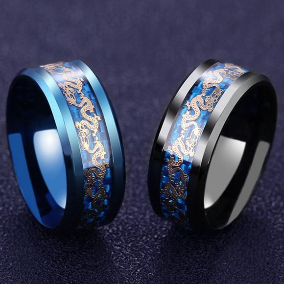 Titanium Steel Dragon Rings Chain Ring Black And Blue Man's Gifts Wedding Band Jewelry Size 6-12