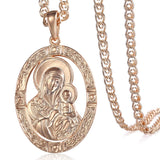 Trendsmax Men's Women's Pendant Necklace 585 Rose Gold Virgin Mary Jesus Pendant Necklace Fashion Jewelry Wholesale Gifts GP194