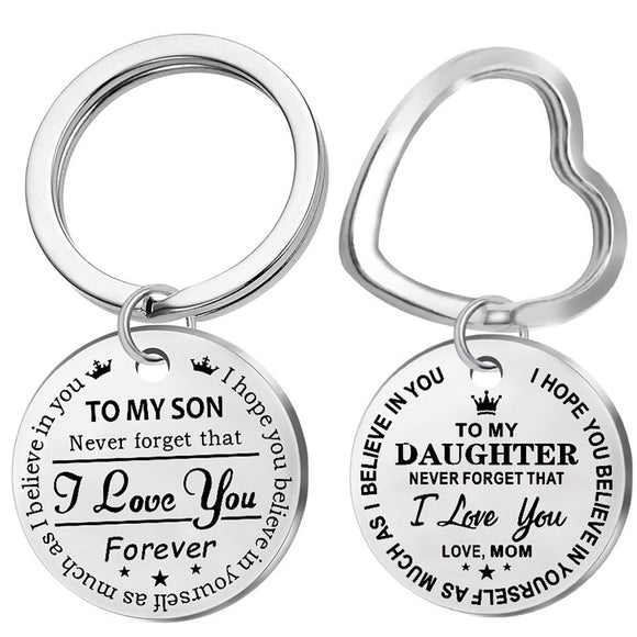 Trendy Stainless Steel Keychain Engraved To My Son Daughter forever Love Mom Keyring Key Chains Charm Love Pendant Jewelry Gift