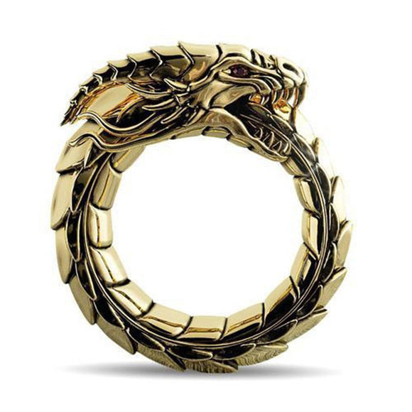 VAGZEB Vintage Punk Dragon Ring Men Chunky Copper Alloy Biker Rock Rap Embrace Skeleton Head Ring Gothic Valentine's Day