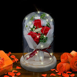 Valentine's Day Gifts LED Rose Lamps Red Rose Flower In Glass Dome Wooden Base For Decoration Christmas Mother's Day Gifts