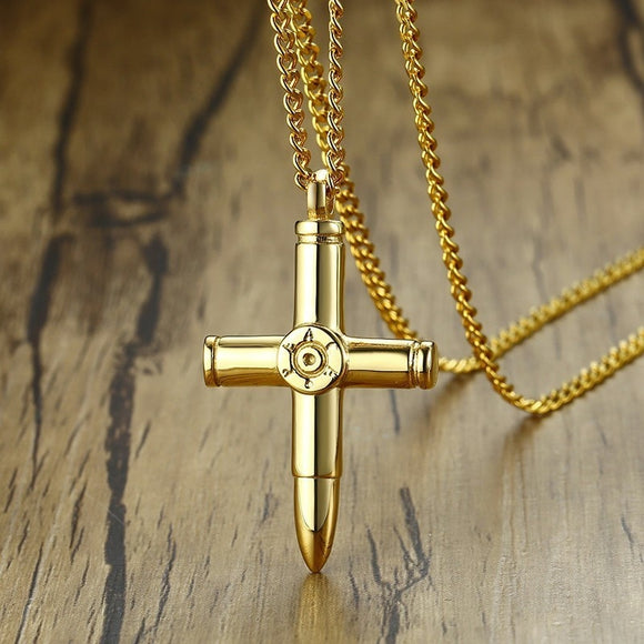 Vnox Design Bullet Cross Pendants for Men Guard Series Necklace Gold Color Stainless Steel Male Collares 24