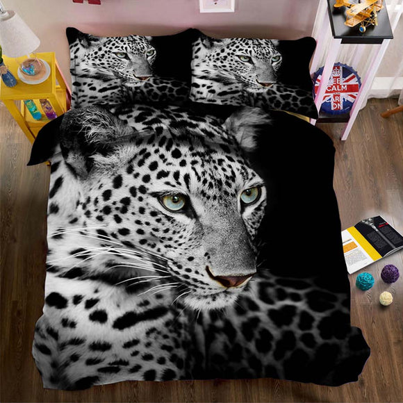 Classic bedding set queen king duvet cover and pillowcases Home textiles Black white leopard