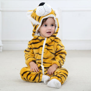 Toddler winter hooded animal pajamas bebe romper baby costume