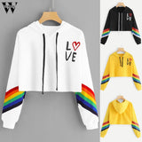 Sweatshirts Women's  Letter Casual Print autumn Long Sleeve Hoodie Pullover Rainbow