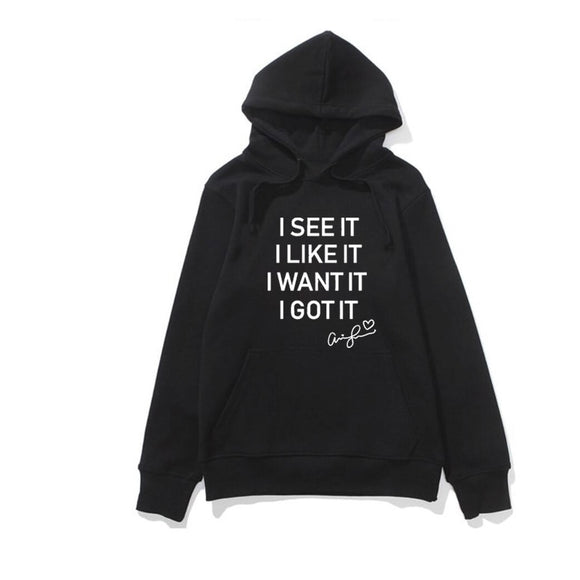 Woman Hoodie Letters Printed Sweatshirt Hooded Harajuku Seven Rings Ariana Grande Hoodies I See It I Like It I Want It I Got It