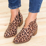 Women Leopard Ankle Boots Autumn Female Deep V Shape Pointed Toe Zip Vintage Fashion Shoes Ladies Platform Chunky Med Heels