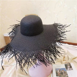 Foldable Sun Shade Visor Cap ladies White Black Paper Straw Caps
