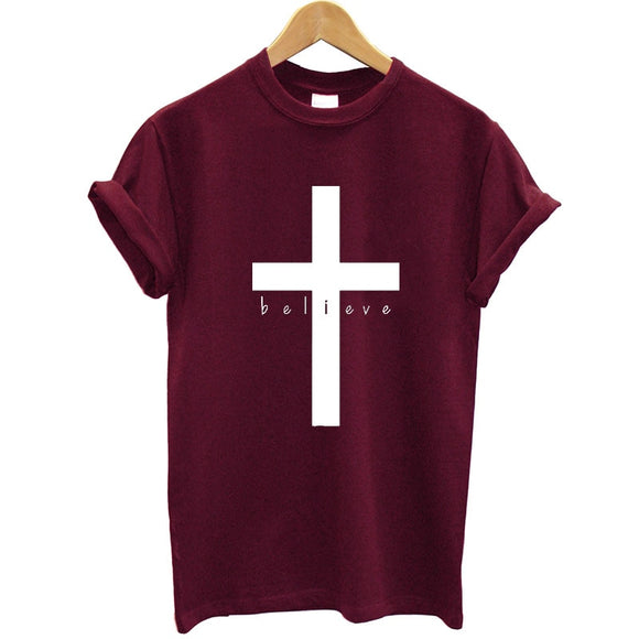 Women Short Sleeve O-neck Funny Summer Tops Faith Tshirt Christian Jesus Clothes Women Tee Shirt Femme Cotton T-shirt