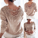 Women's Sweaters Winter Pullover Elegant Lace Backless Long Sleeve Jumper Top Knitted Sweater  Female Ladies Women's Clothes